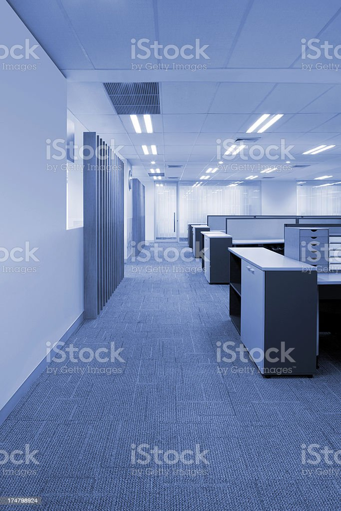 Office Corridor & Work Stations stock photo
