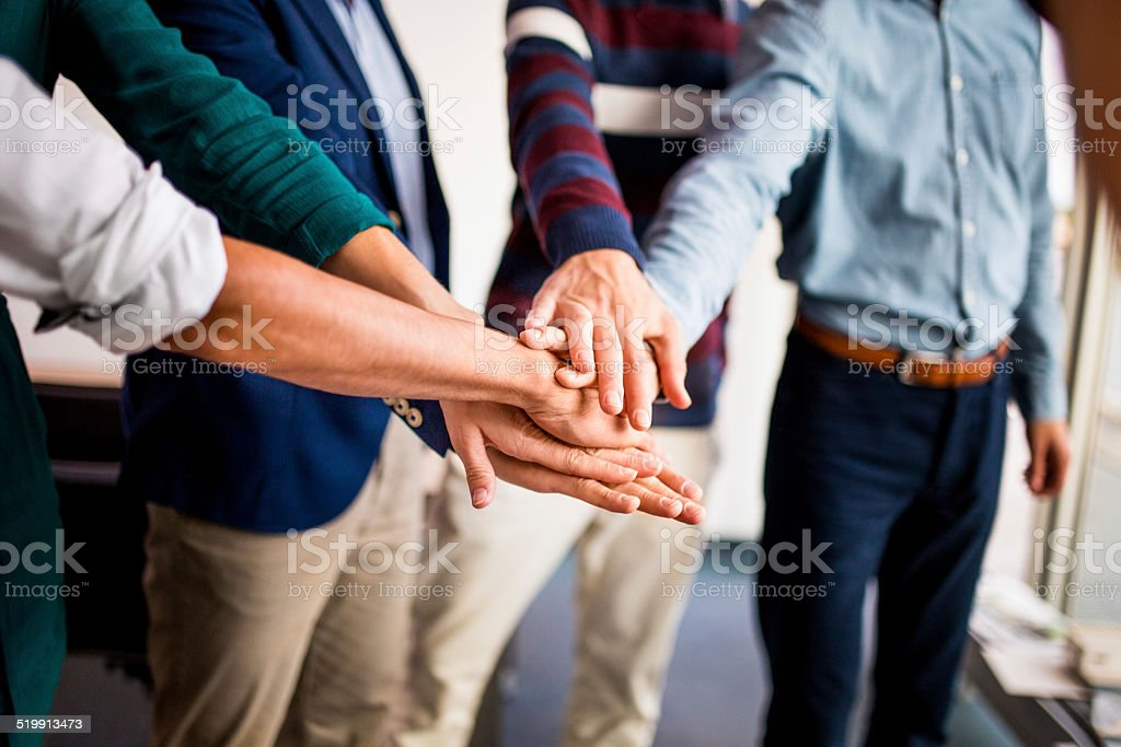 Office Coworkers Participate In Team Building stock photo