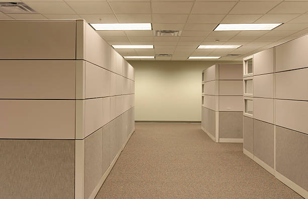 office cubicle landscape - empty hallway - office cubicle stock pictures, royalty-free photos & images