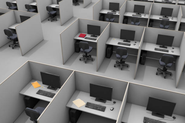 office cubicles aerial call center - office cubicle stock pictures, royalty-free photos & images