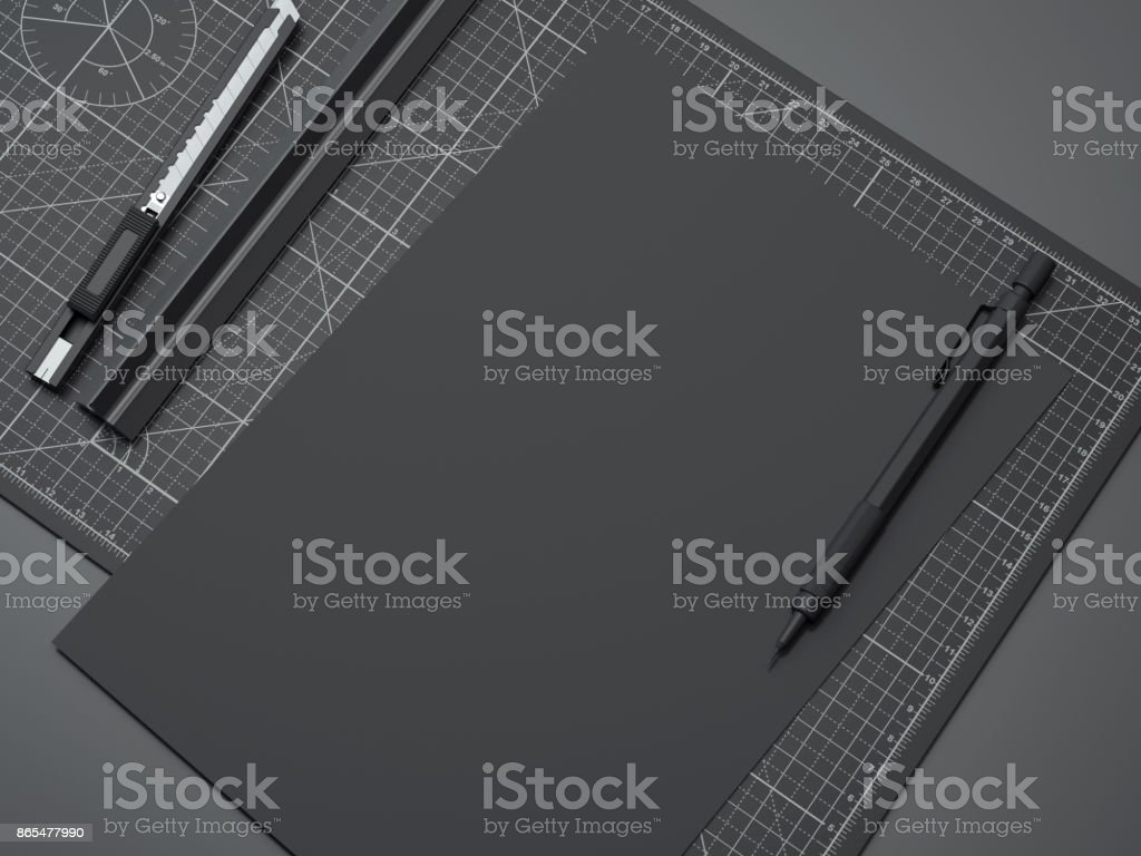Office cutting board with ruler, pencil and black paper. 3d rendering stock photo