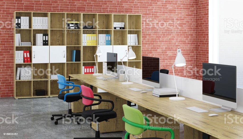 Office Design. 3D rendering. stock photo
