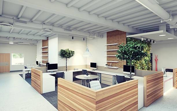 büro-design - arbeitsplatz verlassen stock-fotos und bilder