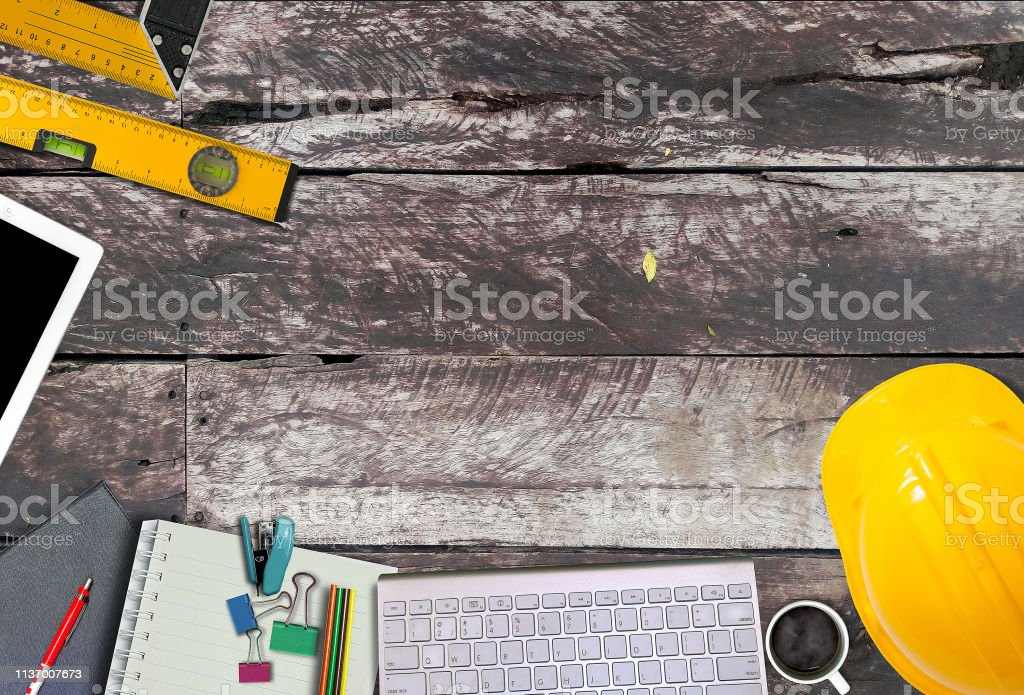 Office Desk Background With Construction Project Ideas