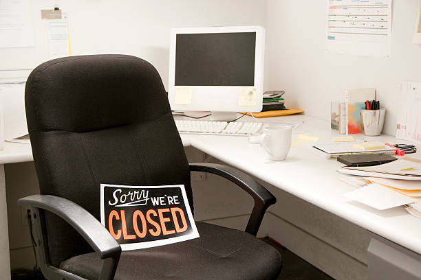 office desk chair with closed sign - closed stock photos and pictures
