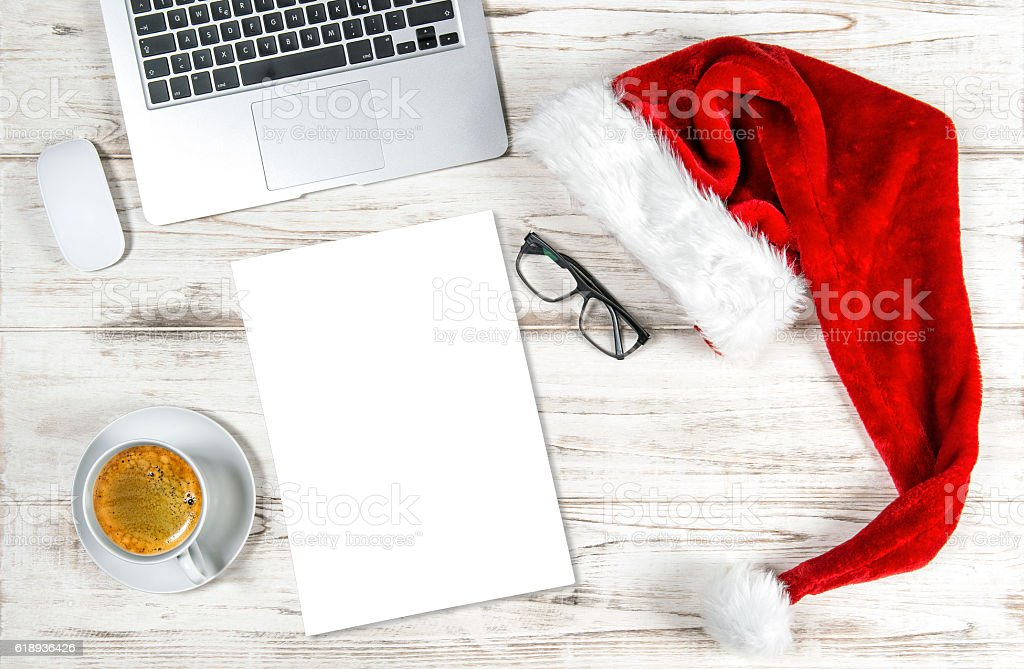 Office Desk Computer, Coffee Paper Christmas Holidays Decoration stock photo