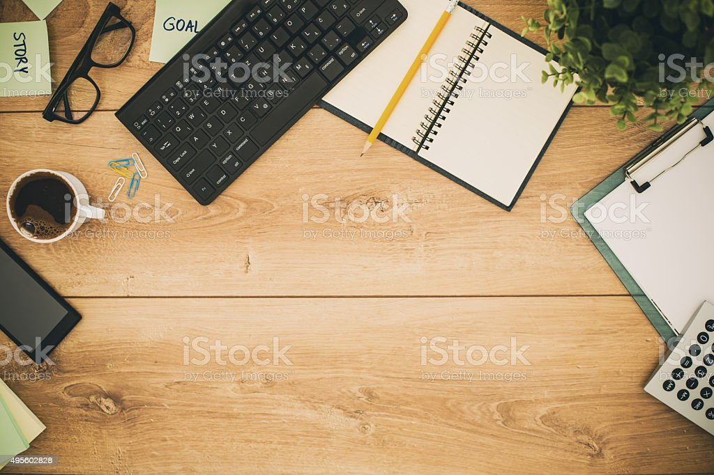 Office desk, directly above shot stock photo