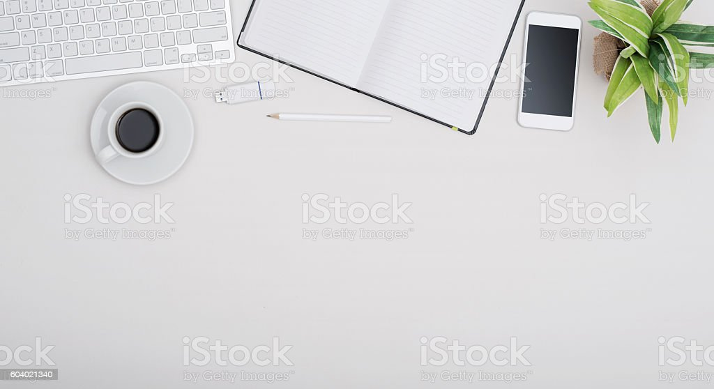 Office desk header stock photo
