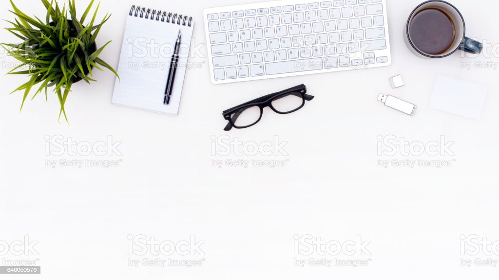 office desk header stock photo