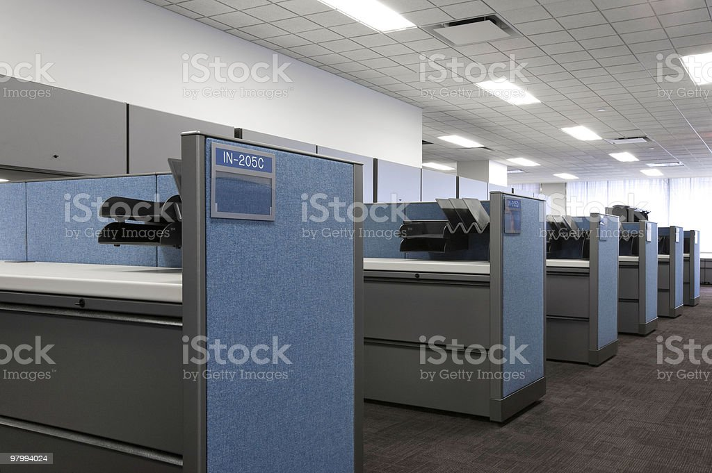 Office Desk in Cubicals royalty-free stock photo
