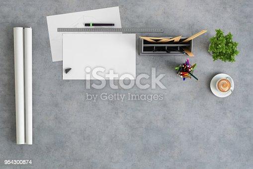949860388istockphoto Office desk knolling, architects desk background copy space mock up 954300874