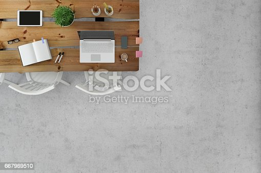 Business group scene showing knolling overhead office white desk with multiple chairs around, corporate teamwork template. laptop, tablet, PC monitor keyboard, notepad, paper, chairs around. Part of the photo empty for text and copy space. template, no people.