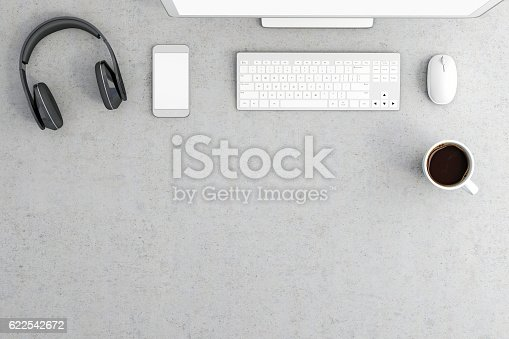Knolling, top view of an gray office desk, with elements on the top, earphones, smartphone, coffee cup , keyboard and mouse. Bottom part of the photo is empty and free for embedding additional elements. Copy space. Horizontal render mockup