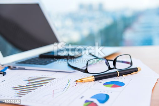 Close up view of an office desk.