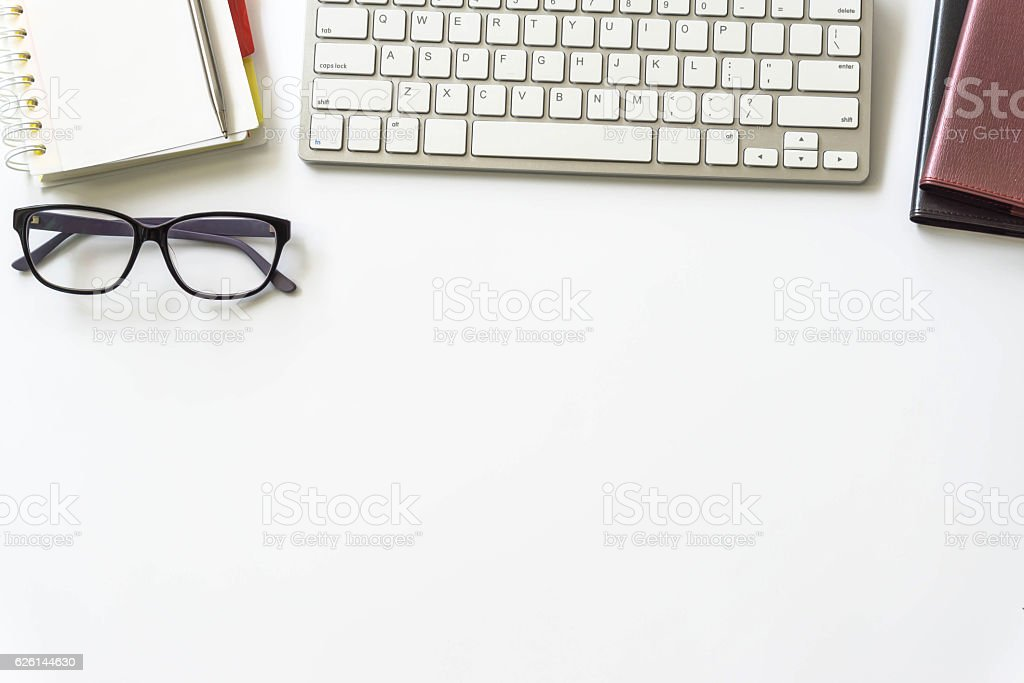 Office desk table with computer keyboard, royalty-free stock photo