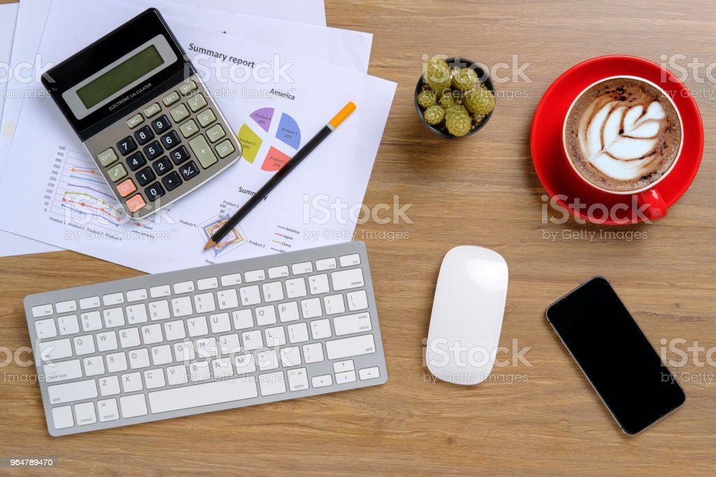 Office desk table with keyboard,calculator royalty-free stock photo