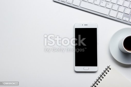 istock Office desk table with supplies. Flat lay Business workplace and objects. Top view. Copy space for text 1096993622