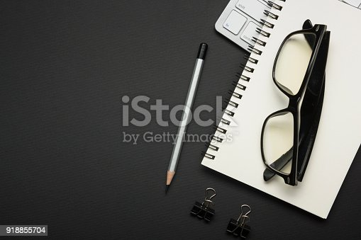 509867718istockphoto Office desk table with supplies. Flat lay Business workplace and objects. Top view. Copy space for text 918855704