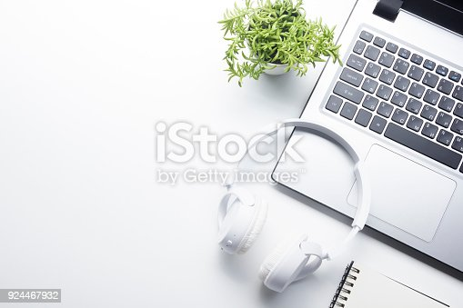 istock Office desk table with supplies. Flat lay Business workplace and objects. Top view. Copy space for text 924467932