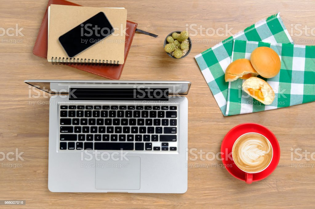 Office desk table with supplies. - Royalty-free Above Stock Photo
