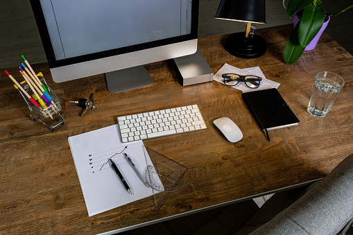 509867718 istock photo Office desk with accessories 1178913865