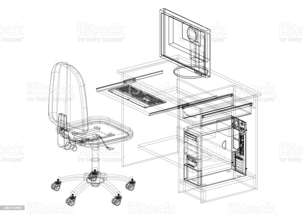 architect office supplies. Office Desk With Computer Architect Blueprint - Isolated Royalty-free Stock  Photo Architect Office Supplies