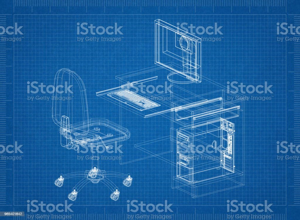 Office Desk with Computer Architect blueprint royalty-free stock photo