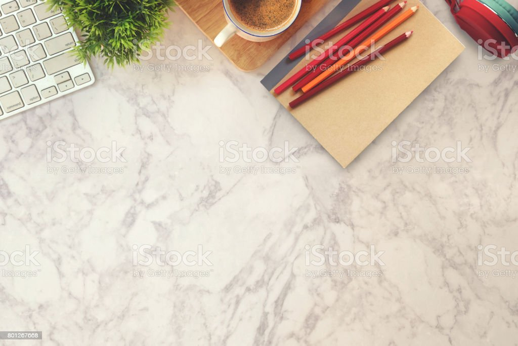Office Desk With Computer, Supplies On Marble Top Table. Royalty Free Stock  Photo
