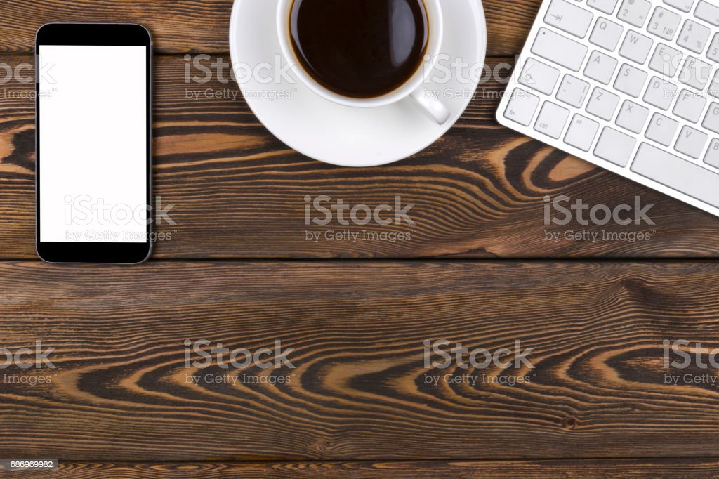 Office desk with copy space. Digital devices wireless keyboard, mouse...