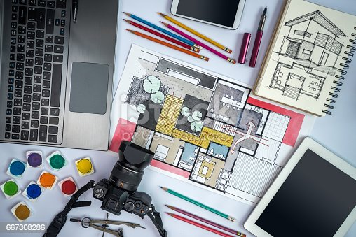 istock Office desk with equipments, camera, laptop, tablet, home architecture illustration 667308286