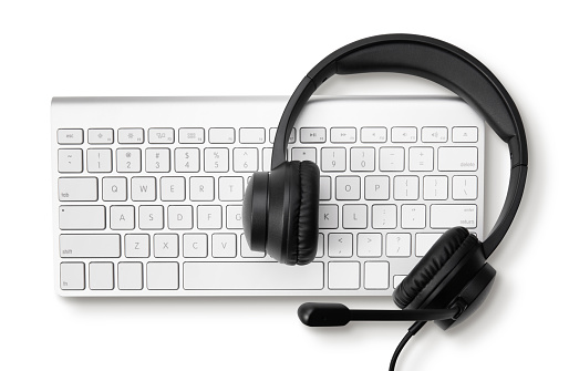 Office desk with headset