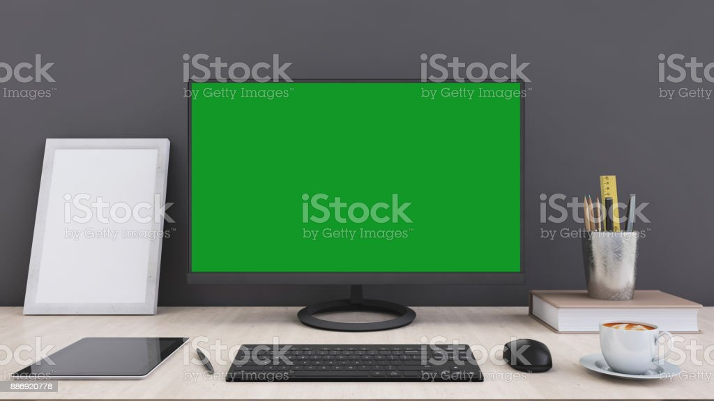 Office desk with large pc computer screen with green background office desk with large pc computer screen with green background template royalty free stock pronofoot35fo Gallery