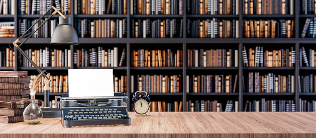Office desk with old typewriter and Bookshelves in the library with old books 3d render 3d illustration