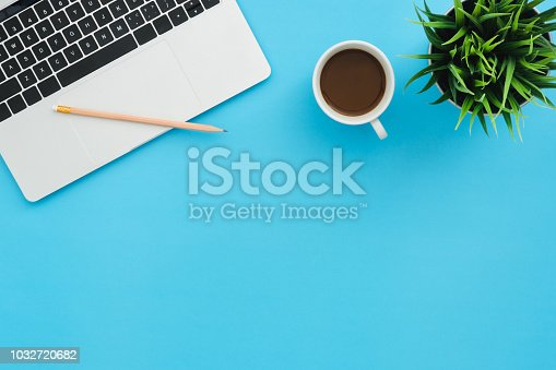 Office desk working space - Flat lay top view copy space of a working space with laptop, a coffee cup and little grass placing on blue pastel background. Pastel blue color background space concept.
