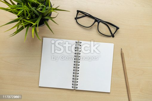 istock Office desk workspace and table background. 1173729861