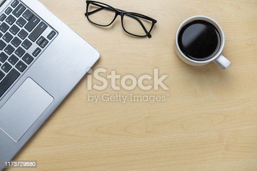 843371502 istock photo Office desk workspace and table background. 1173729880