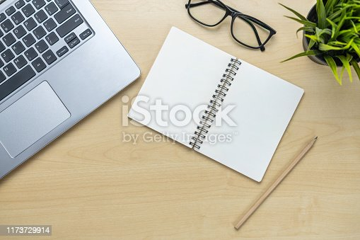 843371502 istock photo Office desk workspace and table background. 1173729914