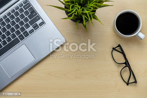 843371502 istock photo Office desk workspace and table background. 1175501974