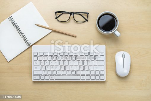 843371502 istock photo Office desk workspace and table background. 1175502035