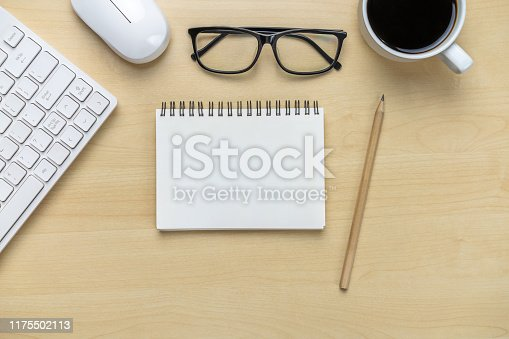 843371502 istock photo Office desk workspace and table background. 1175502113