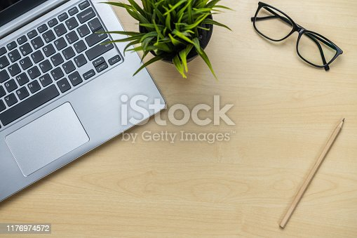 843371502 istock photo Office desk workspace and table background. 1176974572