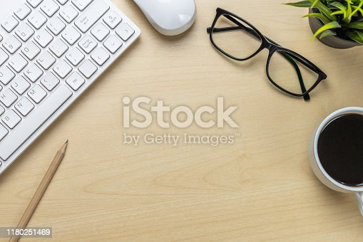 843371502 istock photo Office desk workspace and table background. 1180251469