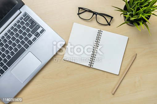 843371502 istock photo Office desk workspace and table background. 1180251470