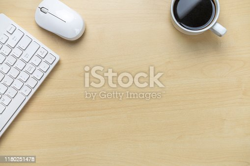 843371502 istock photo Office desk workspace and table background. 1180251478