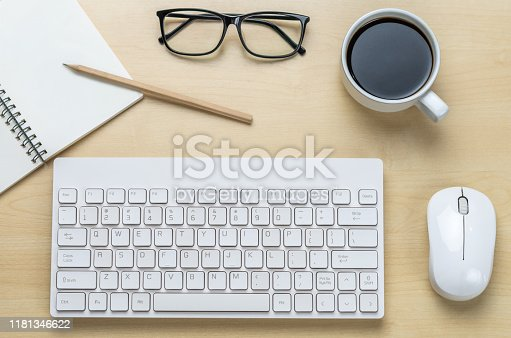 843814242 istock photo Office desk workspace and table background. 1181346622
