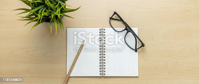 843814242 istock photo Office desk workspace and table background. 1181346624