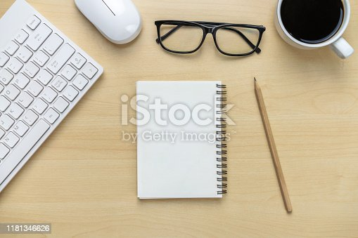 843814242 istock photo Office desk workspace and table background. 1181346626