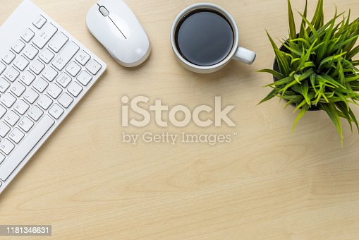 843814242 istock photo Office desk workspace and table background. 1181346631