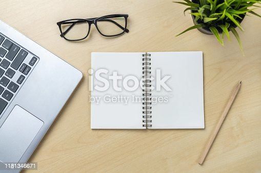 843814242 istock photo Office desk workspace and table background. 1181346671