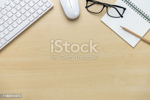 843371502 istock photo Office desk workspace and table background. 1183012474